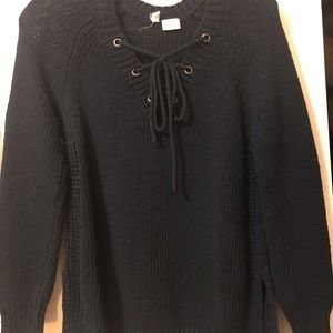 Anthropologie front lace beach sweater S